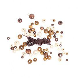 Набор деревянных бусин со шнуром, натуральный микс, 6,8,10.12мм, упаковка 90шт, 160821, АСТРА Россия.