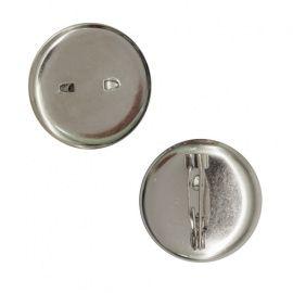 Булавка для броши с круглым основанием 25мм цвет серебро, упак/ 5шт, 1353645 СМ-367 Россия.