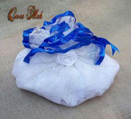 Салфетка для дарения Синие Дали - подарок ручной работы на свадьбу Россия.
