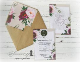 Приглашение Пионы - подарок ручной работы на свадьбу Беларусь.