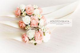 Браслет на ленте Цветочные - подарок ручной работы на свадьбу Беларусь.