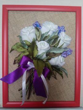 Картина лентами панно Белые розы в Stranamasterov.by Беларусь.