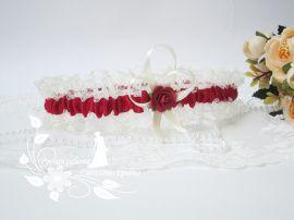 Подвязка невесты Нежность марсалы - подарок ручной работы на свадьбу Россия.