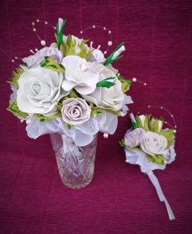 Букет-дублер с бутоньерко Нежность - подарок ручной работы на свадьбу Беларусь.