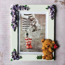 Рамка для фотографий Мишутка в цветах в Stranamasterov.by Россия.