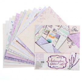 """Набор бумаги для скрапбукинга """"Лавандовые сны"""", 12 листов 14.5*14.5см, 180 г/м, 1201454 Беларусь."""