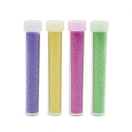 Набор глиттера 4 цвета, 4 тюбика*5, упаковка, 2, т. розовый, фиолетовый, св. желтый, зеленый , 5гр Россия.