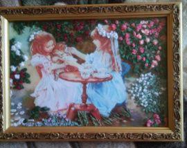 Картина, вышитая лентами Девочки в саду в Stranamasterov.by Беларусь.