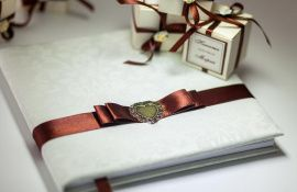 Набор свадебных аксессуаров Кофейная лента - подарок ручной работы на свадьбу Беларусь.