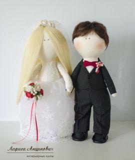 Свадебные куклы Жених и Невеста - подарок ручной работы на свадьбу Беларусь.