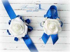Бутоньрка для свидетелей Синяя - подарок ручной работы на свадьбу Беларусь.