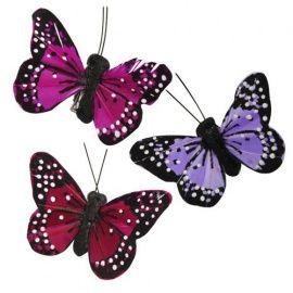 Бабочки с клипсой 5.5см, ассорти, упаковка 3шт, C1530, АСТРА Россия.