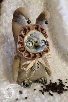 Интерьерная кукла Льняная совушка с бубенчиками в Stranamasterov.by Беларусь.