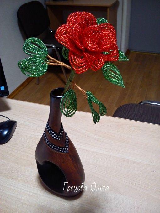 Цветы ручной работы Роза из бисера в Stranamasterov.by