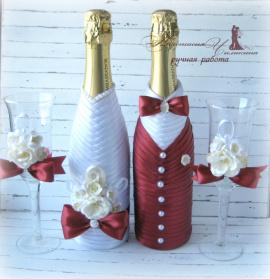 Свадебный набор Бордо - подарок ручной работы на свадьбу Беларусь.