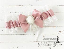 Подвязка невесты Пудра - подарок ручной работы на свадьбу Беларусь.