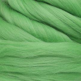 Шерсть для валяния мериносовая тонкая 100%, 100гр (0580 зеленое яблоко) Россия.