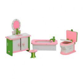 Набор мебели (Ванна 2.5*3.5*8см, унитаз 6*5*4см, шкаф 10*3*6см, стульчик 2*2.5*2см), TD90556 Беларусь.