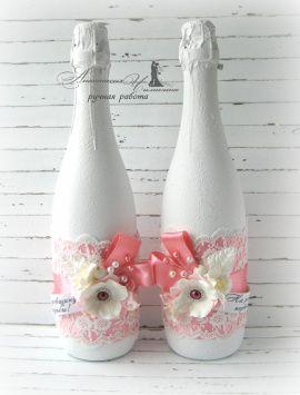 Свадебное шампанское Цветы - подарок ручной работы на свадьбу Беларусь.