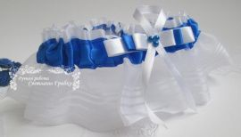 Подвязка невесты Лазурная - подарок ручной работы на свадьбу Россия.