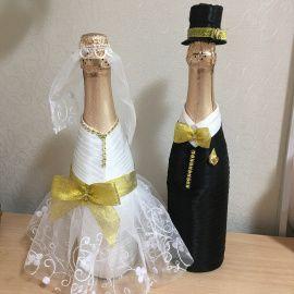 Оформление бутылки Классика со стразами - подарок ручной работы на свадьбу Беларусь.