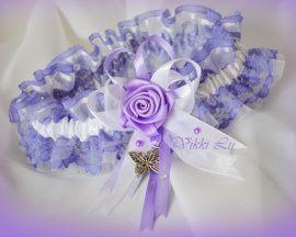 Подвязка Сиреневая роза - подарок ручной работы на свадьбу Беларусь.