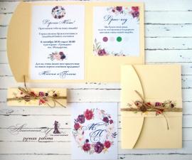 Приглашение Шампань - подарок ручной работы на свадьбу Беларусь.