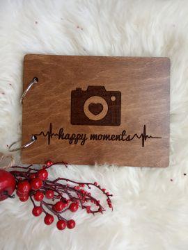 Деревянный фотоальбом Happy moments в Stranamasterov.by Беларусь.