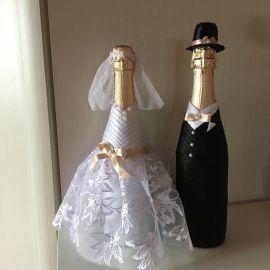 Оформление бутылки Нежность - подарок ручной работы на свадьбу Беларусь.