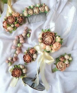 Свадебный набор украшений Очарование - подарок ручной работы на свадьбу Беларусь.