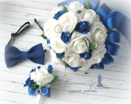 Набор жениха и невесты Синий - подарок ручной работы на свадьбу Беларусь.