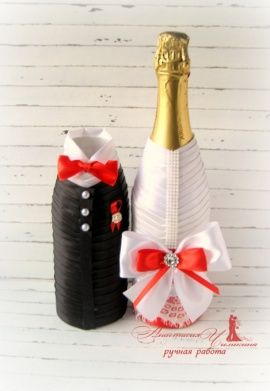 Шампанское Жених и невеста - подарок ручной работы на свадьбу Беларусь.
