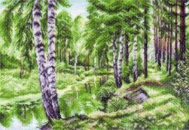 """Канва с рисунком """"Летний пейзаж"""", 37*49см 1228, МАТРЕНИН ПОСАД Беларусь."""