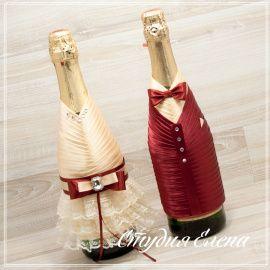 Чехол Чехлы на шампанское желто - подарок ручной работы на свадьбу Россия.