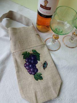 Экосумка шоппер для вина Синий виноград в Stranamasterov.by Беларусь.