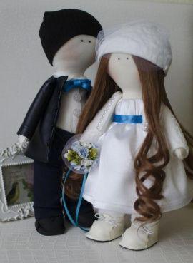 Интерьерные куклы Жених и Невеста - подарок ручной работы на свадьбу Беларусь.