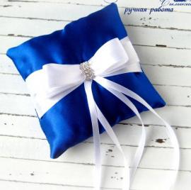 Подушечка для колец Королевский синий - подарок ручной работы на свадьбу Беларусь.
