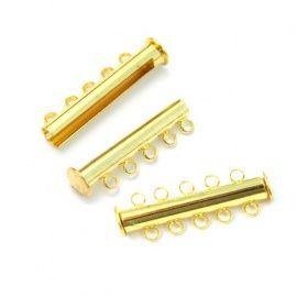 Замок магнитный на 5 нитей, 30*10мм, упаковка 2шт, золото, 52-GC049, АСТРА Россия.