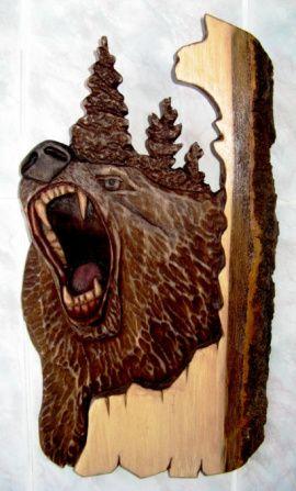 Панно настенное резное Панно резное Медведь в Stranamasterov.by Россия.