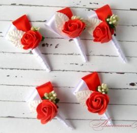 Бутоньерки для друзей Красные - подарок ручной работы на свадьбу Беларусь.