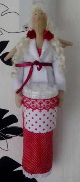 Кукла-тильда Ангел банный в красном в Stranamasterov.by Беларусь.