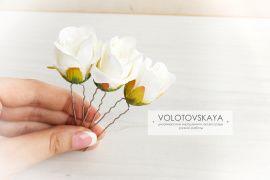 3 шпильки в волосы Белые розы в Stranamasterov.by Беларусь.