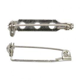 Основа для броши серебряный 3 отв 2.5см, упаковка 10шт, 1375818 Россия.