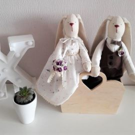 Свадебные куклы Зайки жених и невеста - подарок ручной работы на свадьбу Беларусь.