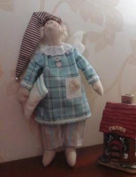 Кукла-тильда Сонный ангел в голубом в Stranamasterov.by Беларусь.