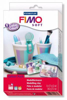 Набор полимерной глины SOFT Карамельные цвета 8023-05 6 цветов по 57гр, FIMO Россия.