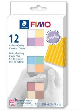 Набор полимерной глины SOFT 12*25гр PASTEL COLOURS, 8023 С12d, FIMO Россия.
