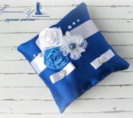 Подушечка для колец Шик - подарок ручной работы на свадьбу Беларусь.