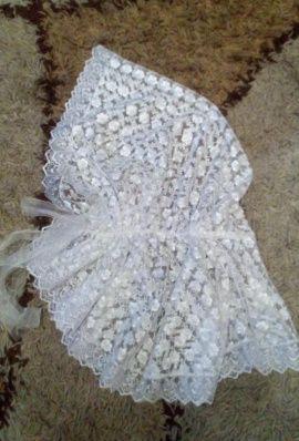 Платок-накидка Белоснежная - подарок ручной работы на свадьбу Беларусь.