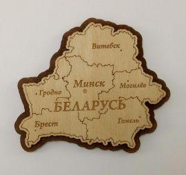 Магнит Карта Беларуси двуслойный в Stranamasterov.by Россия.